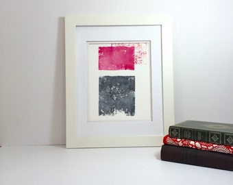 Pink and Grey Spring abstract linocut art 9x12 limited edition