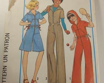 Girls hooded jumpsuit pantdress vintage Pattern Simplicity 8093 Casual wear Misses Girls
