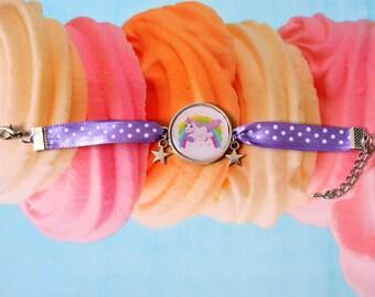 Unicorn personalized Unicorn Rainbow cabochon bracelet