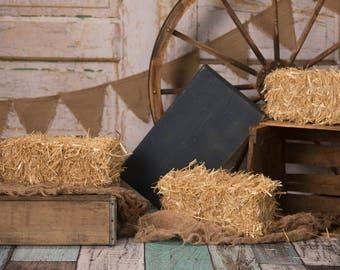 Set of 2 Blue Barnwood Hay Bales, wagon wheel banner, country setup digital background/digital backdrop