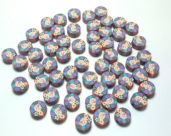 20 Fimo Polymer Clay Coin Round Beads Flowers Assorted Colors