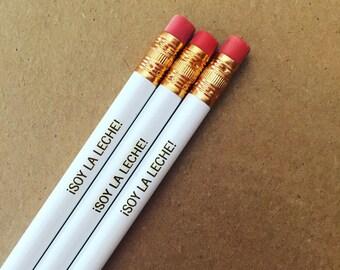 Soy la leche engraved white pencils of self congratulatory awesomeness