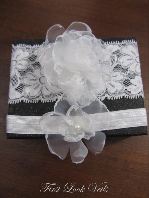 White Bridal Garter, Wedding Garter Set, Organza Floral Garter, Flower Garter, White Beads, White Garter, Throw Garter, Keepsake Garter