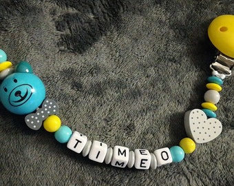 Personalized Teddy bear pacifier clip
