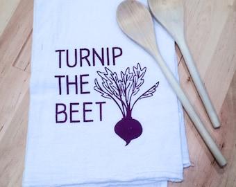 Flour Sack Tea Towel: Turnip the Beet Hand Screen Printed