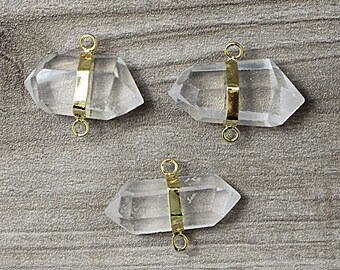 Crystal Quartz Double Point Pendant Connector with Gold Electroplated WHOLESALE PRICING 1, 3, 5, 10, 20, 50, 100 crystals D1S2-02