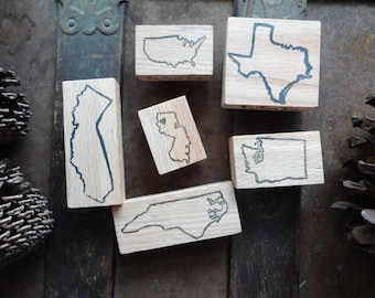 "Hand Carved Outline Location Stamp: America, International, State, County, Custom Outline Stamp, ""2 X 2"" size Large, Return Address, Label"