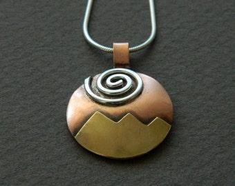 """Mixed metal jewelry- mixed metal pendant """"Golden Peaks"""""""