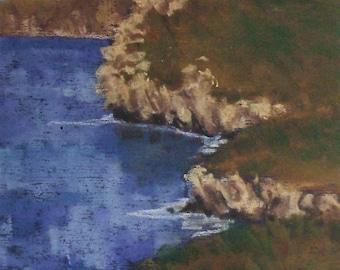 Golden Hills - small original pastel painting california seascape avila rock cliffs