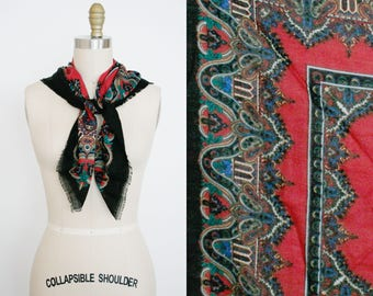Vintage Wool Scarf  - Paisley Print - Boho Scarf - Square Scarf - Women's - Gift For Her