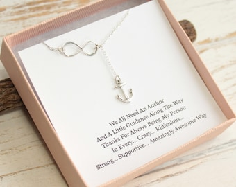 Sterling Silver Infinity and Anchor Necklace with Friendship Sentiment Card