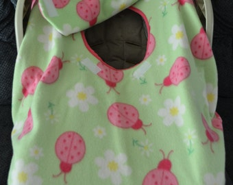 Infant Car Seat Carrier Cover Light Green with Pink Ladybugs Fleece