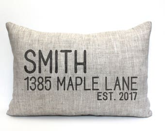 "housewarming gift, address pillow, new home gift, wedding gift, new homeowners gift, location pillow, custom pillow ""The Smith"""
