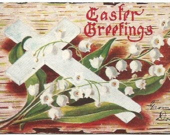 White Cross & White Lily of The Valley on Birch Bark Vintage Postcard Easter Greeting 1908