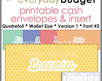 Quatrefoil-Wallet Size - Printable Cash Envelope Ver.1, Budget Envelope System,Cash Organizer - Set of 5, Instant Download- PB1512