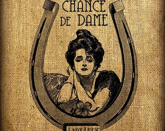 """French Lady Luck """"Chance de Dame"""" Horseshoe Clover Vintage Digital Image Transfer Download 300 dpi for Pillows Totes Bags Napkins Towels"""
