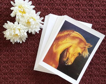8 Note Card Set Blank Greeting Card With Envelopes Arabian Horse Art Blank Note Card Hello Card Thank You Card