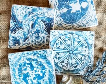 Blue and White Tile- Blue Coaster, Porcelain, Fish Decor, Blue & White Coasters, Bird Decor, Blue Tile, Backsplash Tile