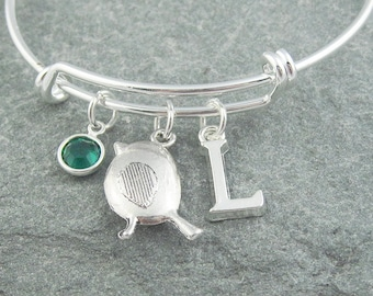 Sparrow bracelet, silver bird bracelet, initial bracelet, swarovski birthstone, personalized jewelry, monogram bracelet, silver charm bangle