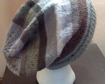 Jazzy Grey Monochrome Stripey  Slouch Beanie Hat