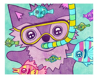 Scuba Fox 8x10 or 5x7 Illustration Print