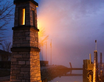 DISCOUNT....The light at the ferry dock, a foggy late afternoon twilight picture, this beautiful bright color fotograph is on SALE !!