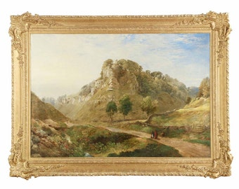 Gorgeous and Very Large English Antique Landscape Painting of Mountains, 19th Century