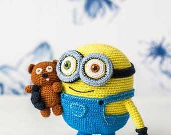Crochet Pattern of yellow monster with a bear (Amigurumi tutorial PDF file)