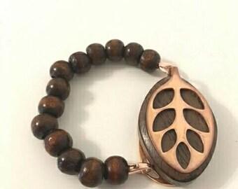 Bellabeat leaf bracelet dark wooden bead bracelet to wear with Bellabeat Leaf elasticated or on wire,bellabeat anklet