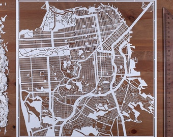 Paper cut map San Francisco 12×12 In. Paper Art  IDEAL GIFTS