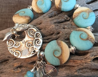 SAIL AWAY, artisan lampwork and sterling silver bracelet