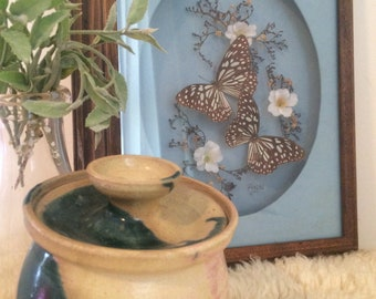 Vintage Butterfly Shadowbox Picture Wall Hanging Dried & Silk Flowers
