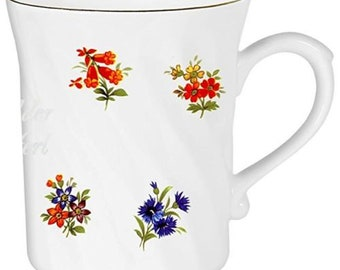 Porcelain Cup turned-cup, coffee pot, mug with gold border-motive flowers *