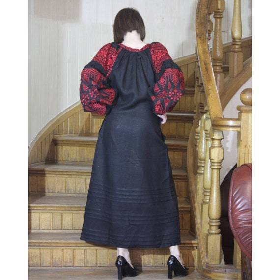 bohemian for Black vyshyvanka sleeves Ukrainian Embroidered Black dress kaftan wish embroidery dress embroidered women linen with long xwwtYn1qC