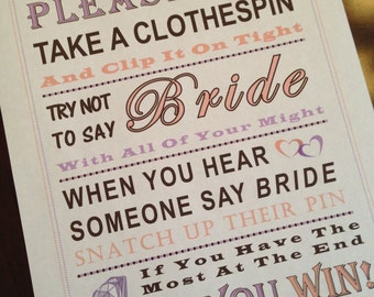 Bridal Shower Game: Don't Say Bride ***CLOTHESPIN***
