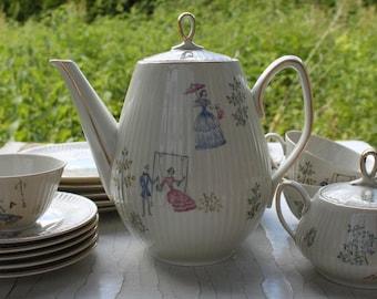 Coffee service tea with type. Design 50s 50s 60s 60s Bavaria Vintage Antique