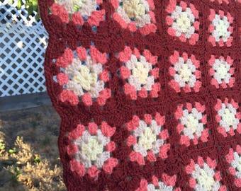 VTG Crochet Granny Handmade Aghan Brown Orange Boho Blanket Throw 70's