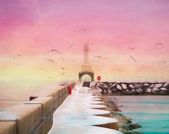Lighthouse Decor, Lighthouse Art, Port Washington, Nautical Decor, Sunset, Pastel, Large Wall Art Print, Wisconsin, Breakwater