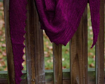 Rich Cranberry Hand Knit Lightweight Wool Scarf or Shawl