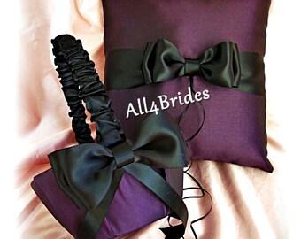 Wedding pilloow basket - Eggplant purple and black weddings ring bearer pillow and flower girl basket, cushion and basket set