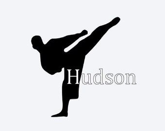 Karate Kick Vinyl Decal #M6114B4, Cell Phone Decal, Tablet Decal, Car Decal, Personalized