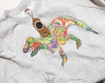 Colourful dinosaur jumper, dinosaur gift, oversized boyfriend jumper, quirky dinosaur sweatshirt, trendy dinosaur print, dinosaur lover gift