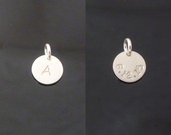 Tiny Double Sided - Initial - Date on Back - 8.9mm - Disc only - Sterling Silver, Gold Filled or Rose Gold Filled -  Add on Charm