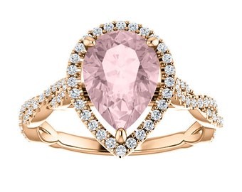 14K Rose Gold Pear Shaped Morganite Gemstone Engagement Ring