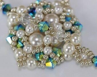 PDF tutorial beaded pearl earrings_ beadweaving pattern_ seed bead_ Swarovski crystal pearl