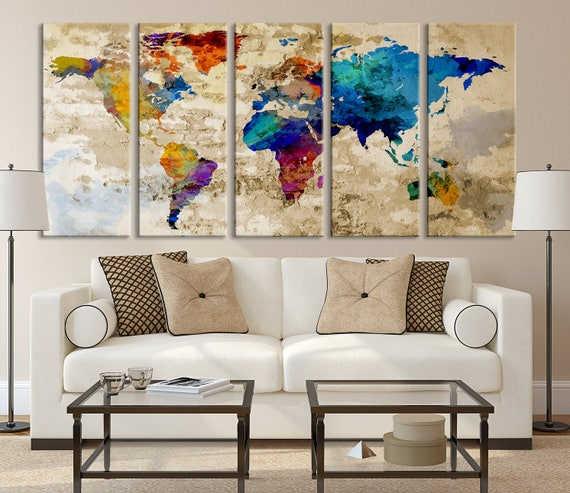 Large world map wall art canvas print navy blue watercolor like this item gumiabroncs Image collections