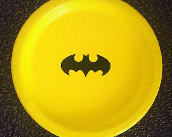 8 Batman Party Plates, Superhero Party, Batman Birthday Party Decor, Superhero Birthday Party Decor, Tableware