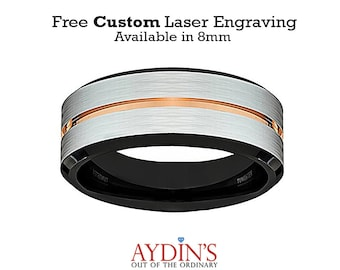 Tungsten Ring Brushed Wedding Band Men White Brushed Rose Gold Groove Black Inside Comfort Fit Tungsten Carbide Wedding Ring - 8mm