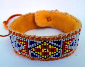 Wetlands Native American Inspired, White, Blue, Yellow, Red, Cuff Bracelet on Deer Hide