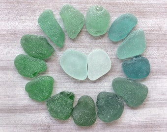 Genuine Sea Glass Bulk Beach Glass Surf Tumbled Sea Glass Green Emerald Teal Seafoam Sea Glass Sea Glass Art Craft Mosaic M002(15)
